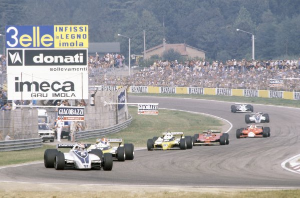 1980 Italian Grand Prix.Imola, Italy. 12-14 September 1980.Nelson Piquet (Brabham BT49-Ford Cosworth) leads Jean-Pierre Jabouille, Rene Arnoux (both Renault RE20), Gilles Villeneuve (Ferrari 312T5), Bruno Giacomelli (Alfa Romeo 179B), Hector Rebaque (Brabham BT49-Ford Cosworth) and Alan Jones (Williams FW07B-Ford Cosworth). Piquet and Jones finished in 1st and 2nd positions respectively.World Copyright: LAT PhotographicRef: 35mm transparency 80ITA07