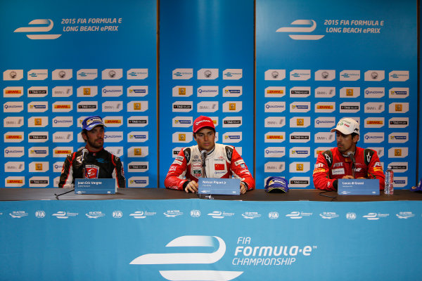 2014/2015 FIA Formula E Championship. Long Beach ePrix, Long Beach, California, United States of America. Sunday 5 April 2015 Press Conference. Nelson Piquet Jr (BRA)/China Racing - Spark-Renault SRT_01E, first, Jean-Eric Vergne (FRA)/Andretti Motorsport - Spark-Renault SRT_01E, second and Lucas di Grassi (BRA)/Audi Abt Sport - Spark-Renault SRT_01E, third. Photo: Zak Mauger/LAT/Formula E ref: Digital Image _L0U8832