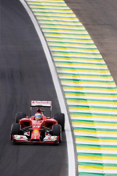 Interlagos, Sao Paulo, Brazil. Saturday 8 November 2014. Fernando Alonso, Ferrari F14T. World Copyright: Charles Coates/LAT Photographic. ref: Digital Image _N7T9543