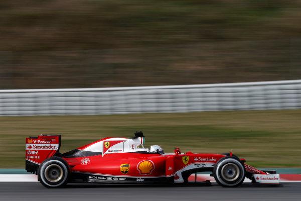 Circuit de Catalunya, Barcelona, Spain Monday 22 February 2016. Sebastian Vettel, Ferrari SF16-H. World Copyright: Glenn Dunbar/LAT Photographic ref: Digital Image _89P4010
