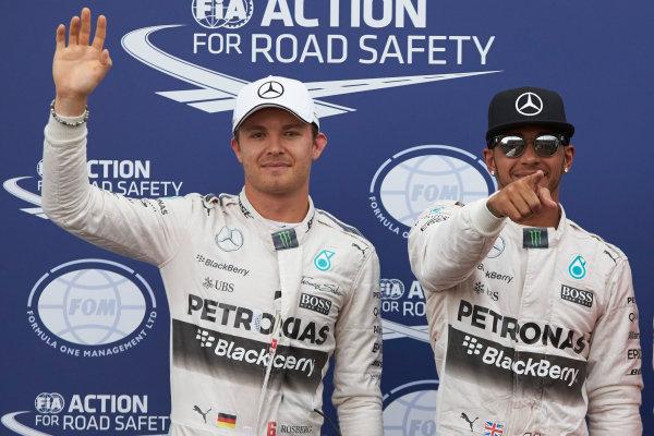 Monte Carlo, Monaco. Saturday 23 May 2015. Front row starters, Nico Rosberg, Mercedes AMG, and pole man Lewis Hamilton, Mercedes AMG. World Copyright: Steve Etherington/LAT Photographic. ref: Digital Image SNE26577