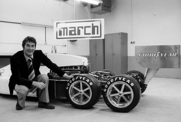 Robin Herd (GBR) March Designer with his new 6 wheeled creation, the March 2-4-0.