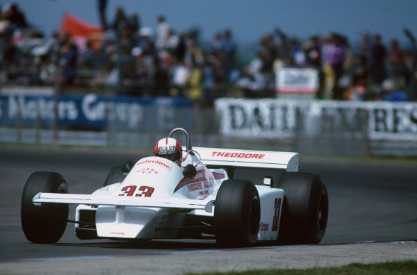 Silverstone, Great Britain. 16th - 18th July 1981.Marc Surer (Theodore TY01-Ford), 11th position, action.World Copyright: LAT Photographic.Ref: Colour Transparency.