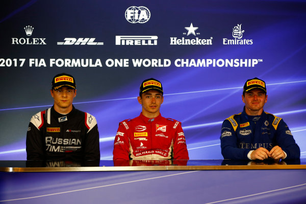 Spa Francorchamps, Belgium.  Saturday 26 August 2017 Artem Markelov (RUS, RUSSIAN TIME). Charles Leclerc (MCO, PREMA Racing). and Oliver Rowland (GBR, DAMS).  Photo: Mauger/FIA Formula 2 ref: Digital Image _ONZ3071