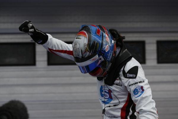 Alexander Albon (THA, ART Grand Prix) celebrates in Parc Ferme  2016 GP3 Series Round 4 Hungaroring, Budapest, Hungary Sunday 24 July 2016  Photo: /GP3 Series Media Service ref: Digital Image _SBB8229