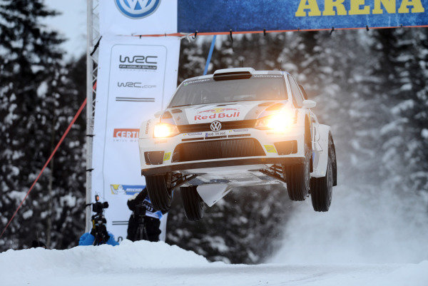 Jari-Matti Latvala (FIN) and Miikka Anttila (FIN), VW Polo WRC jumps on stage 6. FIA World Rally Championship, Rd2, Rally Sweden, Karlstad, Sweden, Day One, Friday 8 February 2013