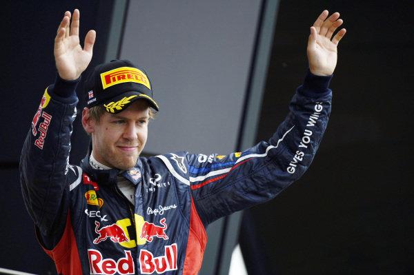 Sebastian Vettel (GER) Red Bull Racing finished third.Formula One World Championship, Rd9, British Grand Prix, Race, Silverstone, England, Sunday 8 July 2012. BEST IMAGE