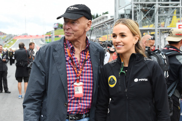 Peter Brabeck-Lethmathe (AUT) Chairman of Nestle Group with Carmen Jorda (ESP) Lotus F1 Development Driver on the grid at Formula One World Championship, Rd8, Austrian Grand Prix, Race, Spielberg, Austria, Sunday 21 June 2015.