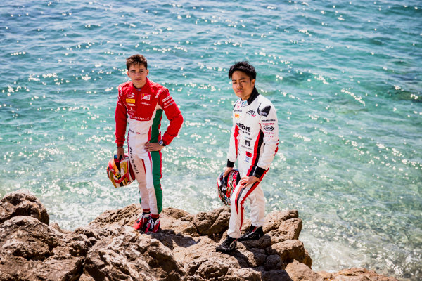 2017 FIA Formula 2 Round 3. Monte Carlo, Monaco. Wednesday 24 May 2017. Charles Leclerc (MCO, PREMA Racing), Nobuharu Matsushita (JPN, ART Grand Prix). Photo: Zak Mauger/FIA Formula 2. ref: Digital Image _54I4823