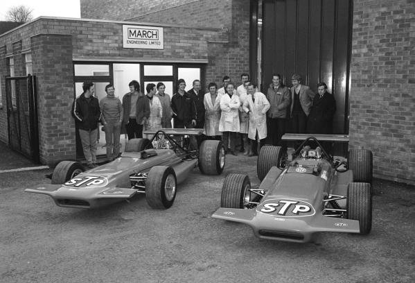 The  workforce of March Engineering responsible for building the first 2 March 701 F1 cars
