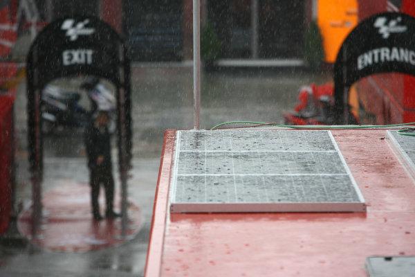 Circuit de Catalunya, Barcelona, Spain.5th June 2008.Rain greets the MotoGP paddock on Thursday.World Copyright: Martin Heath / LAT Photographicref: Digital Image Only