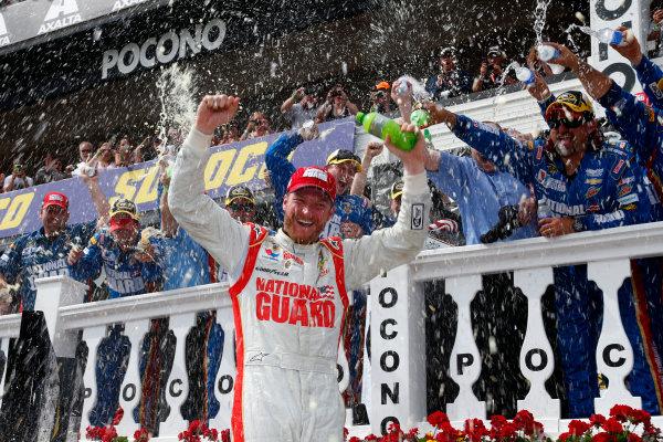 6-8 June, 2014, Long Pond, Pennsylvania USA Dale Earnhardt Jr celebrates in victory lane ?2014, Lesley Ann Miller LAT Photo USA