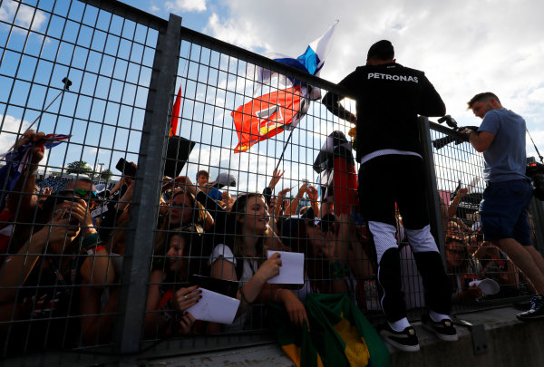 Hungaroring, Budapest, Hungary.  Thursday 27 July 2017. Lewis Hamilton, Mercedes AMG, sigs autographs for fans. World Copyright: Steven Tee/LAT Images  ref: Digital Image _O3I4983