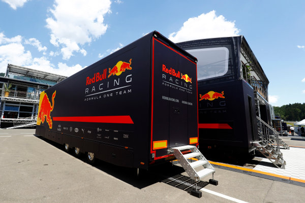 Red Bull Ring, Spielberg, Austria. Thursday 06 July 2017. A Red Bull transporter next to the team's hospitality area in the paddock. World Copyright: Steven Tee/LAT Images ref: Digital Image _O3I4173