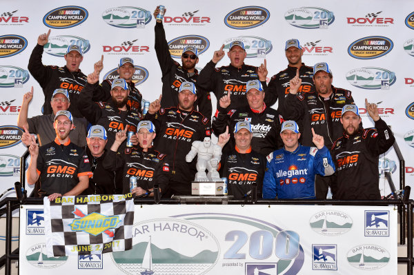 NASCAR Camping World Truck Series Bar Harbor 200 Dover International Speedway, Dover, DE USA Friday 2 June 2017 Johnny Sauter, Allegiant Airlines Chevrolet Silverado celebrates his win in Victory Lane World Copyright: Nigel Kinrade LAT Images ref: Digital Image 17DOV1nk06881