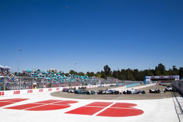 Felipe Massa (BRA), Venturi Formula E, Venturi VFE05 leads Oliver Rowland (GBR), Nissan e.Dams, Nissan IMO1,Mitch Evans (NZL), Panasonic Jaguar Racing, Jaguar I-Type 3 and Jose Maria Lopez (ARG), GEOX Dragon Racing, Penske EV-3
