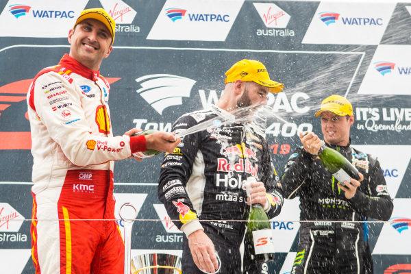 Fabian Coulthard, DJR Team Penske Ford, Shane van Gisbergen, Triple Eight Race Engineering Holden, Cameron Waters, Tickford Racing Ford