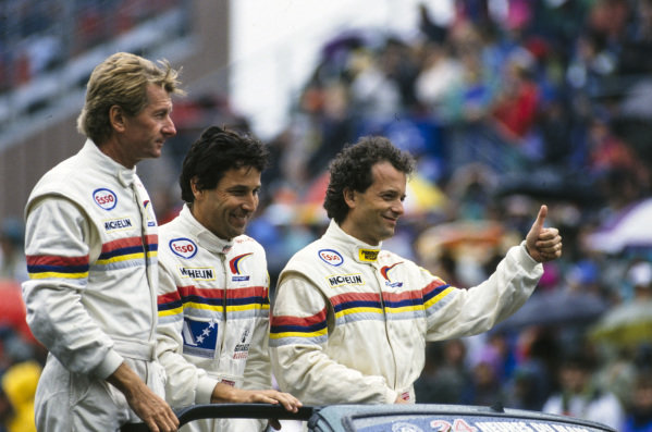 Jean-Pierre Jabouille, Philippe Alliot and Mauro Baldi,Peugeot Talbot Sport, on the drivers parade.