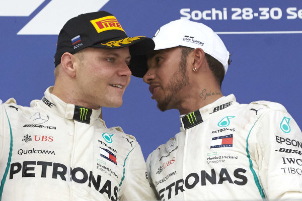 Valtteri Bottas, Mercedes AMG F1, Lewis Hamilton, Mercedes AMG F1, celebrate on the podium