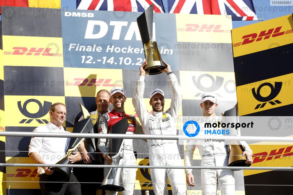 Champion Gary Paffett, Mercedes-AMG Team HWA, second place René Rast, Audi Sport Team Rosberg, third place Paul Di Resta, Mercedes-AMG Team HWA, Ullrich Fritz, Team principal Mercedes-AMG HWA