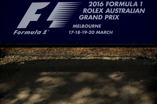 Australian Grand Prix signage at Formula One World Championship, Rd1, Australian Grand Prix, Preparations, Albert Park, Melbourne, Australia, Wednesday 16 March 2016.