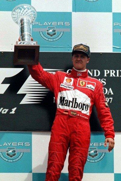 1997 Canadian Grand Prix. Montreal, Quebec, Canada. 13-15 June 1997. Michael Schumacher (Ferrari) 1st position. World Copyright - LAT Photographic