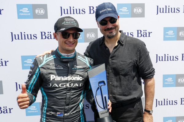 Mitch Evans (NZL), Panasonic Jaguar Racing, with the pole position award