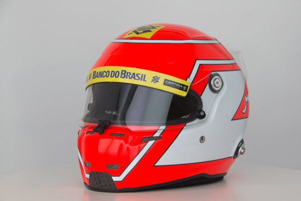 Sauber C34 Reveal. Hinwil, Switzerland. Thursday 29 January 2015. Helmet of Felipe Nasr. Photo: Sauber F1 Team (Copyright Free FOR EDITORIAL USE ONLY) ref: Digital Image Sauber_2015_Helmet_22