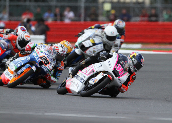 British Grand Prix.  Silverstone, England. 15th-17th June 2012.  Moto3. Luis Salom, Kalex KTM, leads Maverick Vinales, FTR Honda.  World Copyright: Kevin Wood/LAT Photographic.  ref: Digital Image IMG_8749a