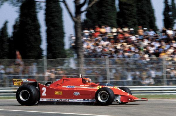Imola, Italy. 12-14 September 1980. Gilles Villeneuve (Ferrari 126 turbo) during practice. World Copyright: LAT Photographic. Ref: 80ITA21