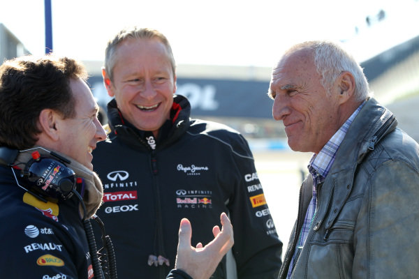 (L to R): Christian Horner (GBR) Red Bull Racing Team Principal, Jonathan Wheatley (GBR) Red Bull Racing Team Manager and Dietrich Mateschitz (AUT) CEO and Founder of Red Bull. Formula One Testing, Jerez, Spain, Day Three, Thursday 30 January 2014.