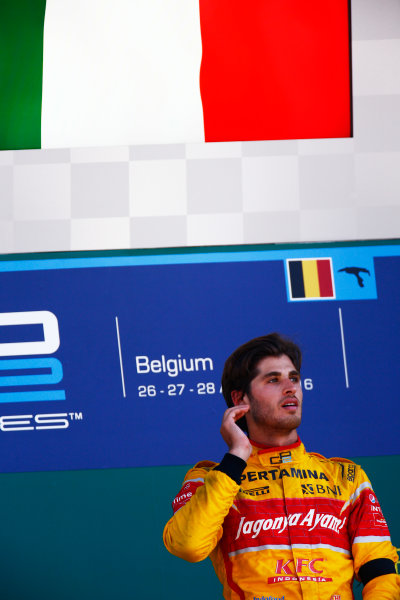 2016 GP2 Series Round 8.  Spa-Francorchamps, Spa, Belgium. Sunday 28 August 2016. Antonio Giovinazzi (ITA, PREMA Racing)  Photo: Zak Mauger/GP2 Series Media Service. ref: Digital Image _L0U2092