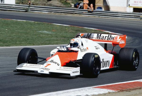 1984 Belgian Grand Prix.Zolder, Belgium.27-29 April 1984.Alain Prost (McLaren MP4/2 TAG Porsche).Ref-84 BEL 32.World Copyright - LAT Photographic