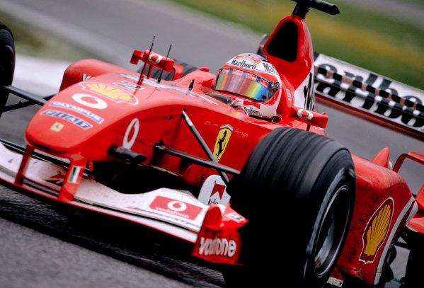2003 San Marino Grand PrixImola, Italy. 18th - 20th April 2003.Rubens Barrichello, Ferrari F2002, acion. (3rd position).World Copyright: LAT Photographicref: 35mm Image A05