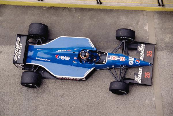 1991 San Marino Grand Prix.Imola, Italy.26-28 April 1991.Thierry Boutsen (Ligier JS35 Lamborghini) 7th position.Ref-91 SM 41.World Copyright - LAT Photographic