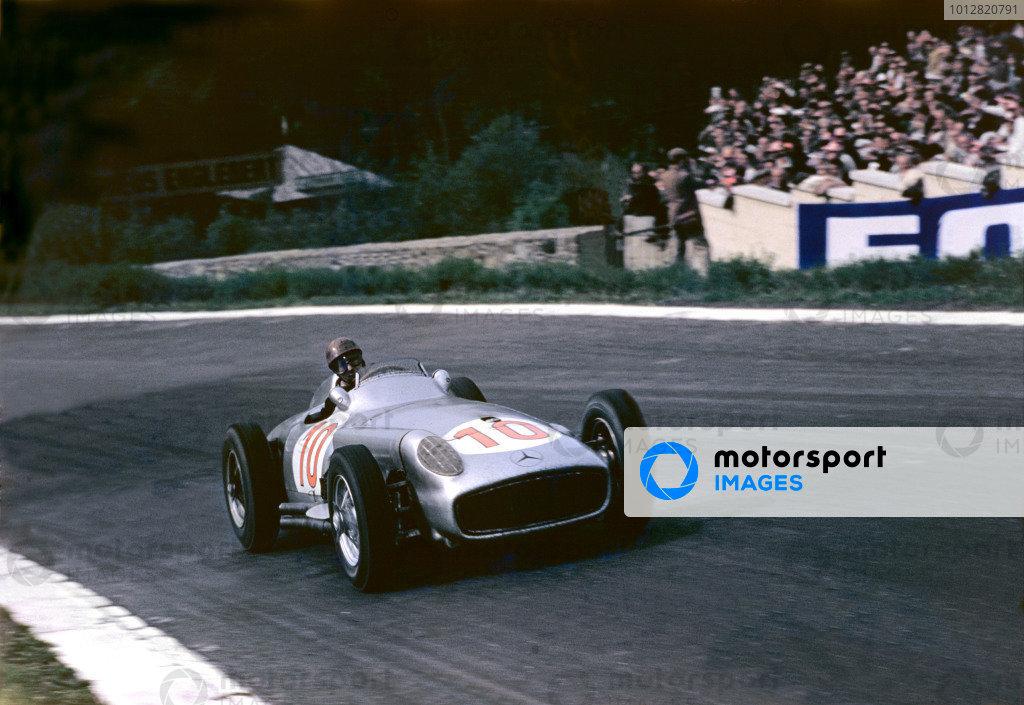 1955 Belgian Grand Prix. 1955 Belgian Grand Prix. Spa-Francorchamps, Belgium. 3-5 June 1955. Juan Manuel Fangio (Mercedes-Benz W196) 1st position. Ref-55 BEL 05. World Copyright - LAT Photographic