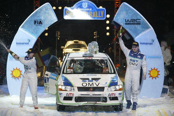 2004 FIA World Rally Champs. Round two, Swedish Rally.5th-8th February 2004.Jani Parsonen, Mitsubishi, podiumWorld Copyright: McKlein/LAT