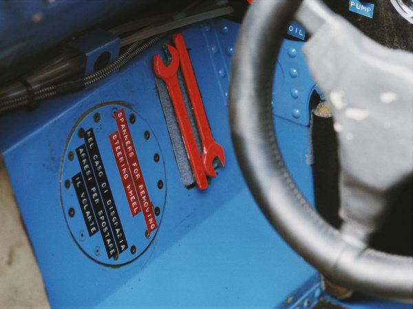 Red spanners to remove the steering wheel in case of an accident, inside the cockpit of Jackie Stewart's Matra MS80 Ford.