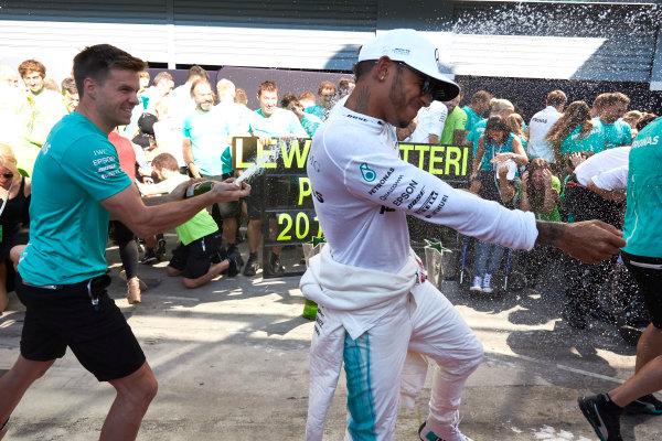 Autodromo Nazionale di Monza, Italy. Sunday 3 September 2017. Lewis Hamilton, Mercedes AMG, 1st Position, and the Mercedes team celebrate victory. World Copyright: Steve Etherington/LAT Images  ref: Digital Image SNE14762