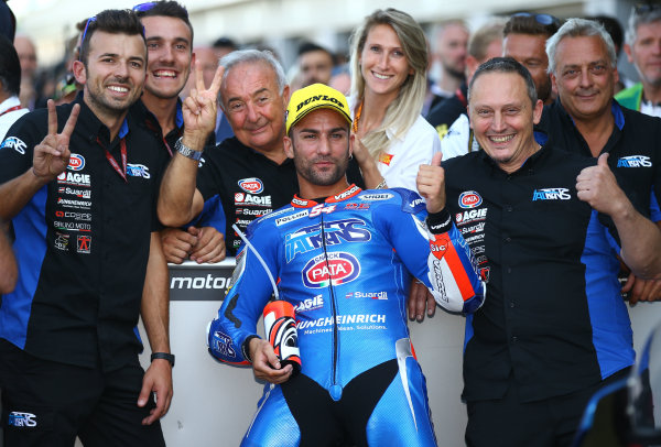 2017 Moto2 Championship - Round 12 Silverstone, Northamptonshire, UK. Sunday 27 August 2017 Second place Mattia Pasini, Italtrans Racing Team  World Copyright: Gold and Goose / LAT Images ref: Digital Image 1390