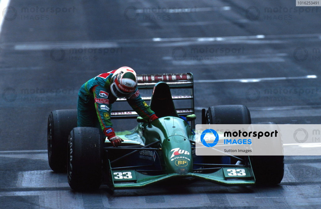 Andrea de Cesaris pushed his Jordan into 4th place and was   initially excluded from the race but later the decision was reversed.