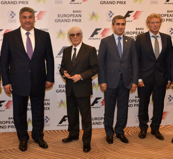(L to R): Azad Rahimov (AZ) Azerbaijan Minister of youth and sport, Bernie Ecclestone (GBR) CEO Formula One Group (FOM), Anar Alakbarov (AZ) Executive Director of the Heydar Aliyev Foundation and President of Azerbaijan Automobile Foundation and Hermann Tilke (GER) Circuit Designer.