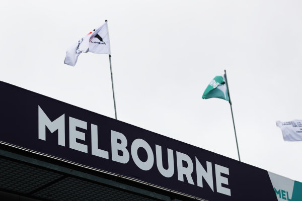 Albert Park, Melbourne, Australia. Wednesday 22 March 2017. Flags fly above the pit lane. World Copyright: Sam Bloxham/LAT Images ref: Digital Image AJ6I0011