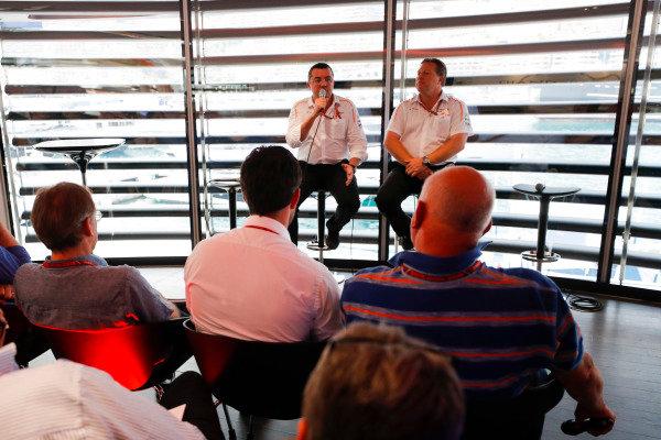 Zak Brown, Executive Director, McLaren Technology Group, and Eric Boullier, Racing Director, McLaren, talk to the media.