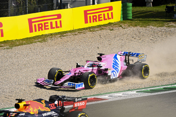 Sergio Perez, Racing Point RP20, heads into the gravel after battling with Max Verstappen, Red Bull Racing RB16