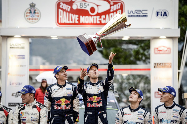 Rally winners Sebastien Ogier (FRA) / Julien Ingrassia (FRA), M-Sport World Rally Team WRC celebrate on the podium with the trophy at FIA World Rally Championship, Rd1, Rally Monte Carlo, Day Three, Monte Carlo, Monaco, 22 January 2017.
