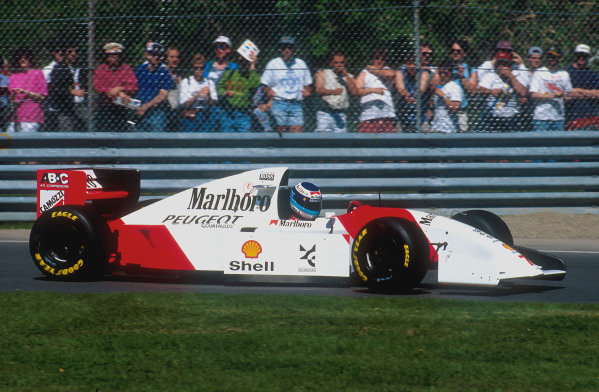 1994 Canadian Grand Prix.Montreal, Quebec, Canada.10-12 June 1994.Mika Hakkinen (McLaren MP4/9 Peugeot). He exited the race after an engine failure.Ref-94 CAN 01.World Copyright - LAT Photographic