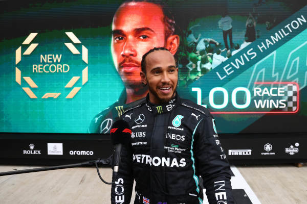 Sir Lewis Hamilton, Mercedes, 1st position, is interviewed in Parc Ferme