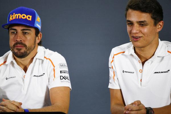 Fernando Alonso, McLaren, and Lando Norris, McLaren, in the press conference