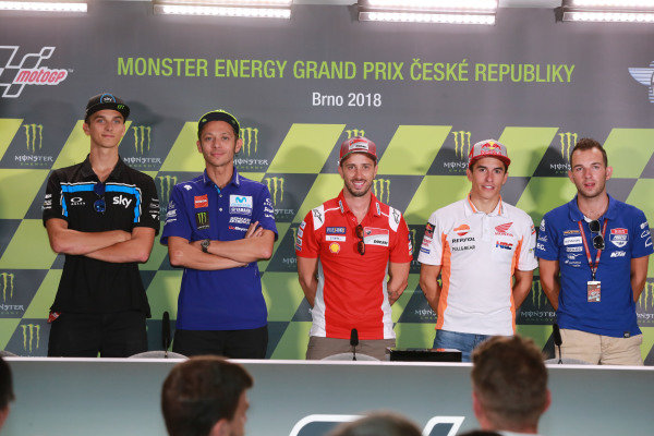 Luca Marini, Sky Racing Team VR46, pole sitter Andrea Dovizioso, Ducati Team, second place Valentino Rossi, Yamaha Factory Racing, third place Marc Marquez, Repsol Honda Team.